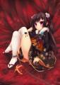 黒髪と振袖と鎖と薔薇と手毬と